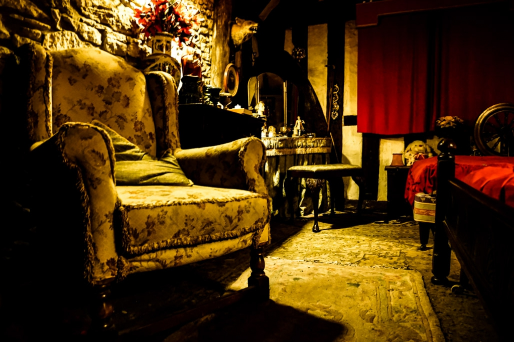 Looking for ghosts inside the Bishop's Room in the Ancient Ram Inn.