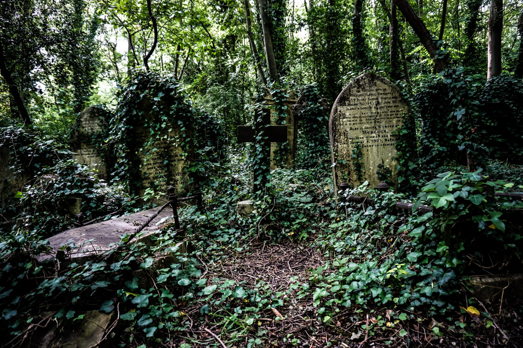 Ghosts and vampire in Highgate Cemetery.