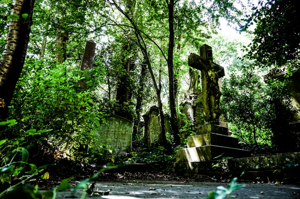 Famous graves in Highgate Cemetery.
