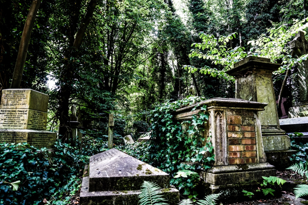 Highgate graveyard, London.