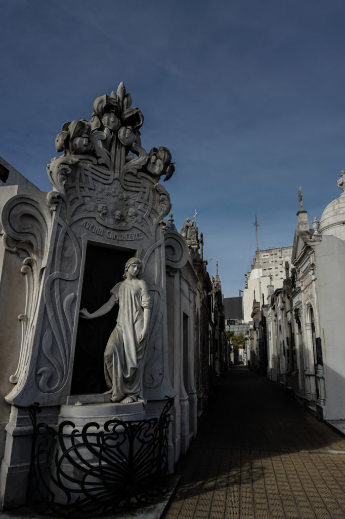 Rufina Cambaceras's tomb at the Recoleta Cemetery.