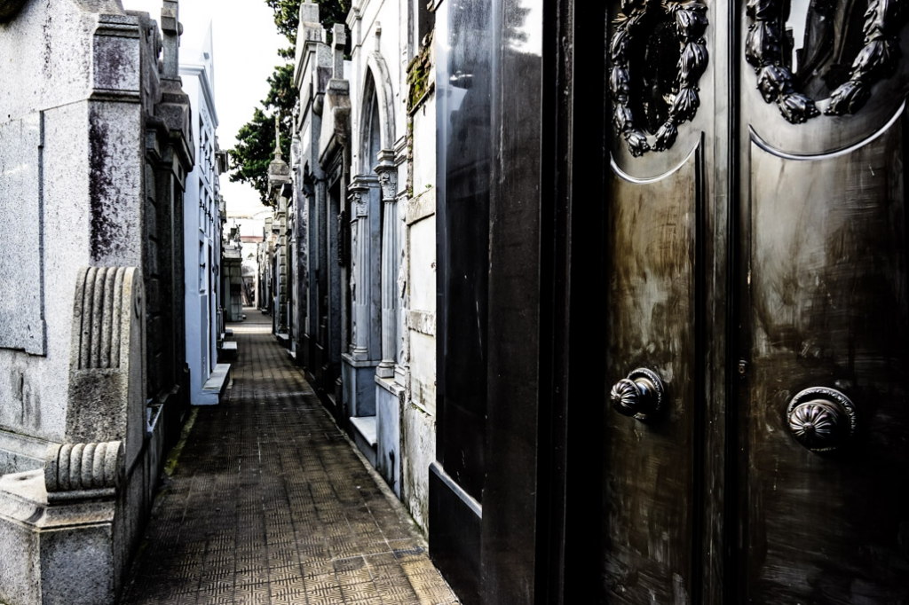 Many tombs at La Recoleta Cemetery, Buenos Aires.