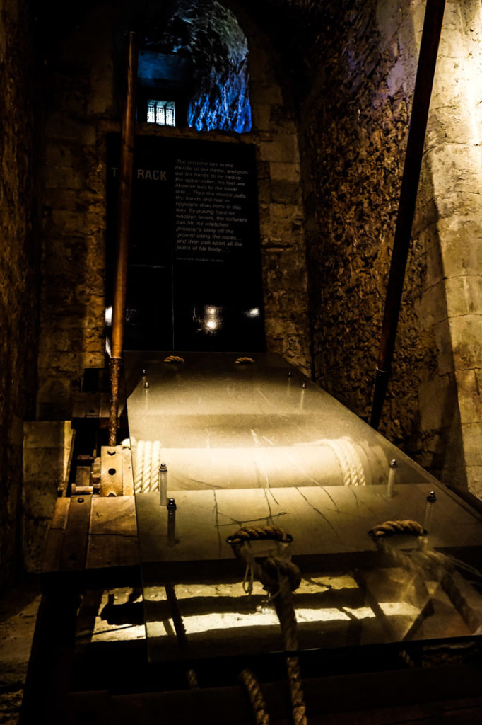 Torture device display in the Tower of London.