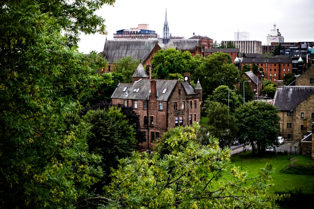 Glasgow Necropolis view showing the most haunted hotel in Glasgow.