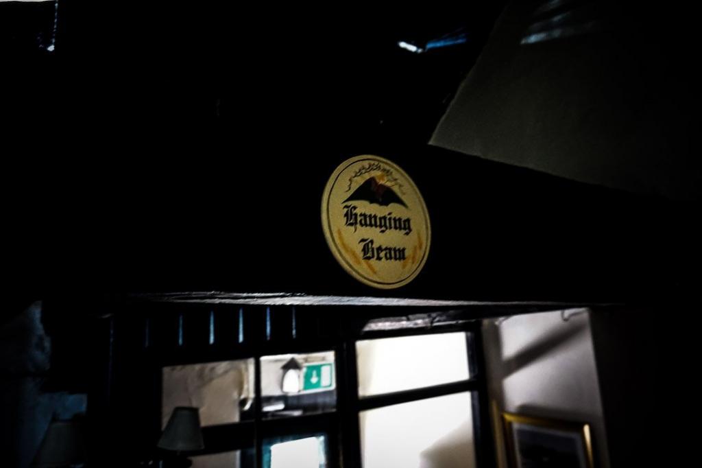Hanging beam inside haunted Skirrid Inn, Wales.