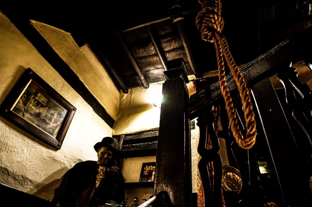 Creepy staircase at the Skirrid Inn.