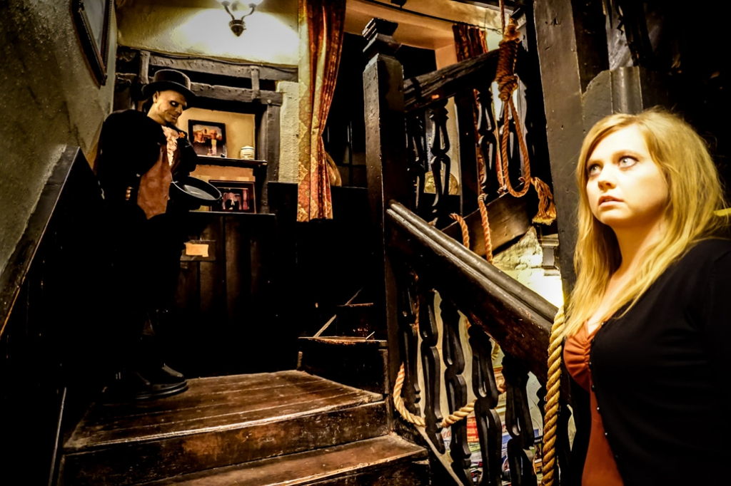 Haunted staircase of Skirrid Inn where executions took place.