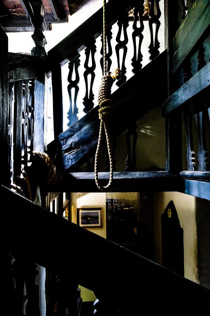 Noose inside haunted Skirrid Inn.