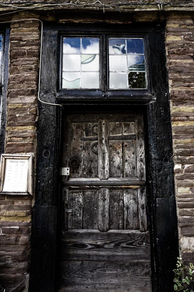 Entrance to the haunted Skirrid Inn.