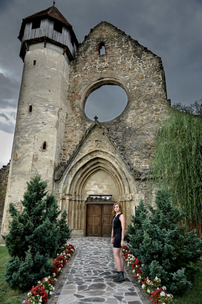 Standing outside of Carta Monastery in Romania.