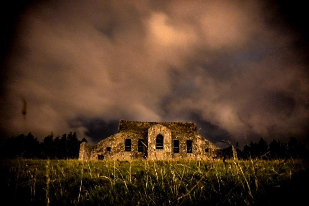 Dublin Hellfire Club at night.