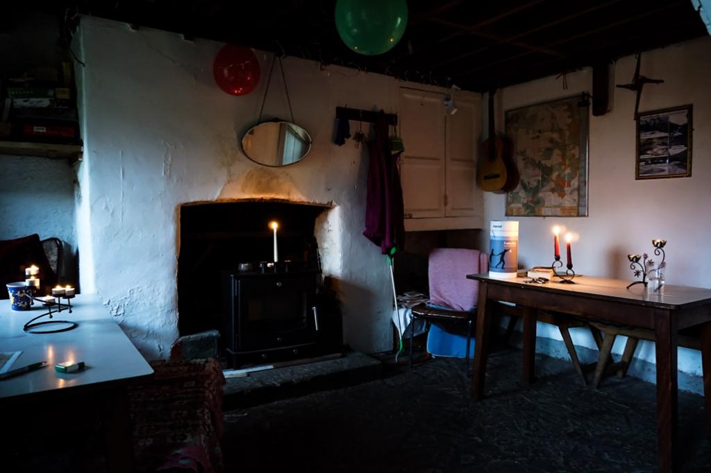 Inside Glenmalure Hostel's downstairs area.