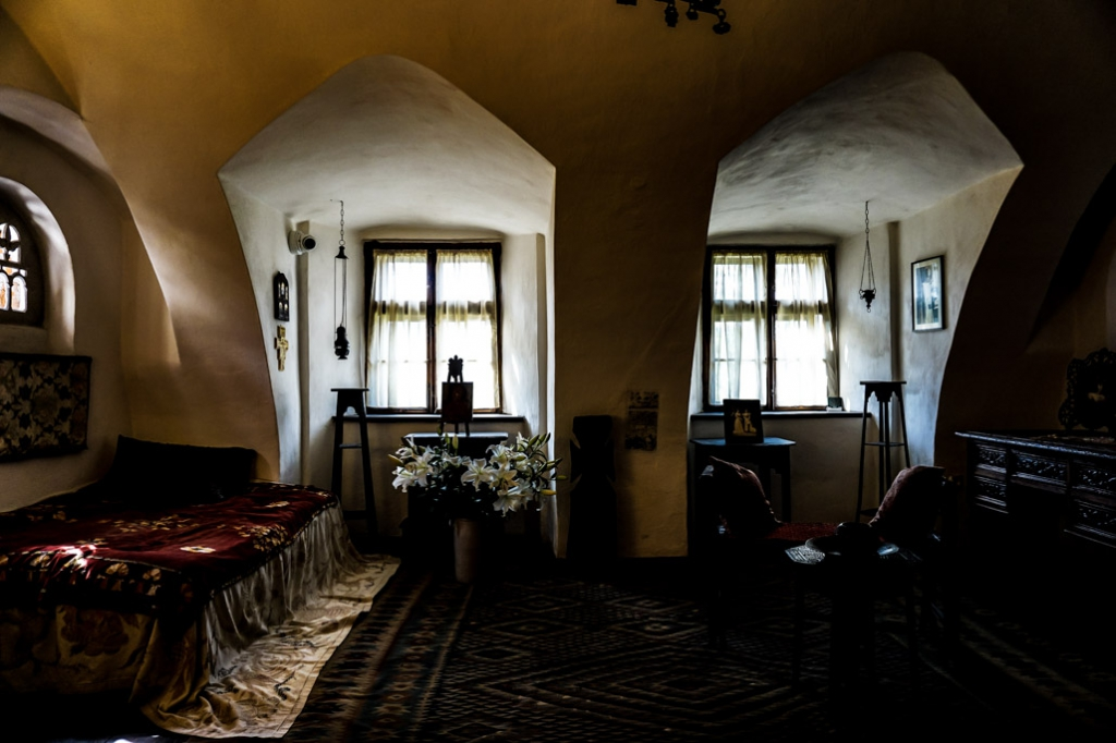 Queen Marie's bedroom inside of Bran Castle.