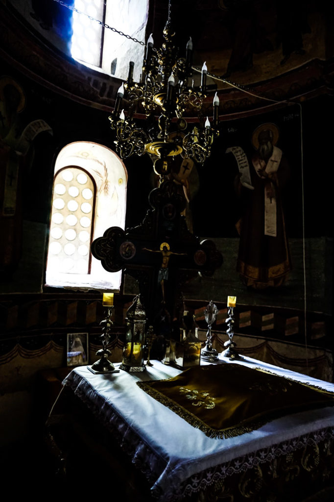 Inside Snagov Monastery.