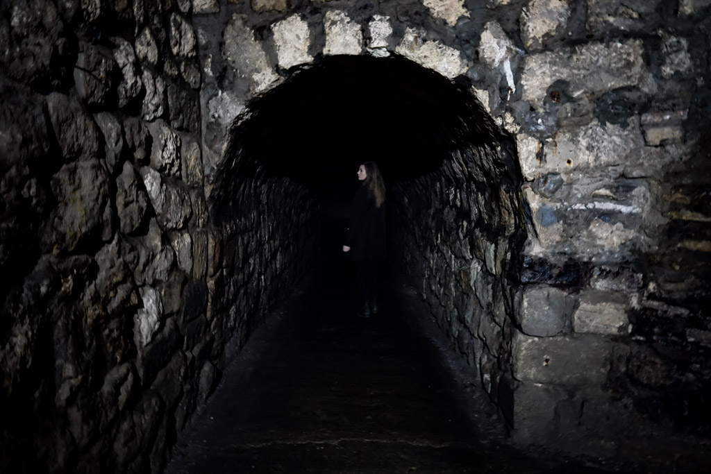 Haunted tunnels in Buda Labyrinth.