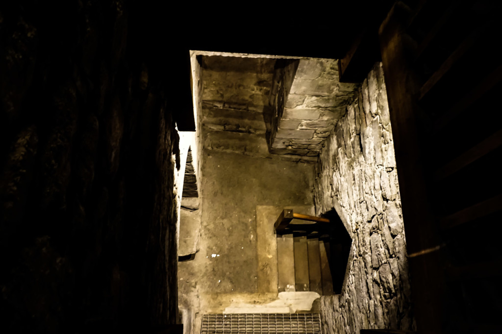 Underneath a castle in Scotland.