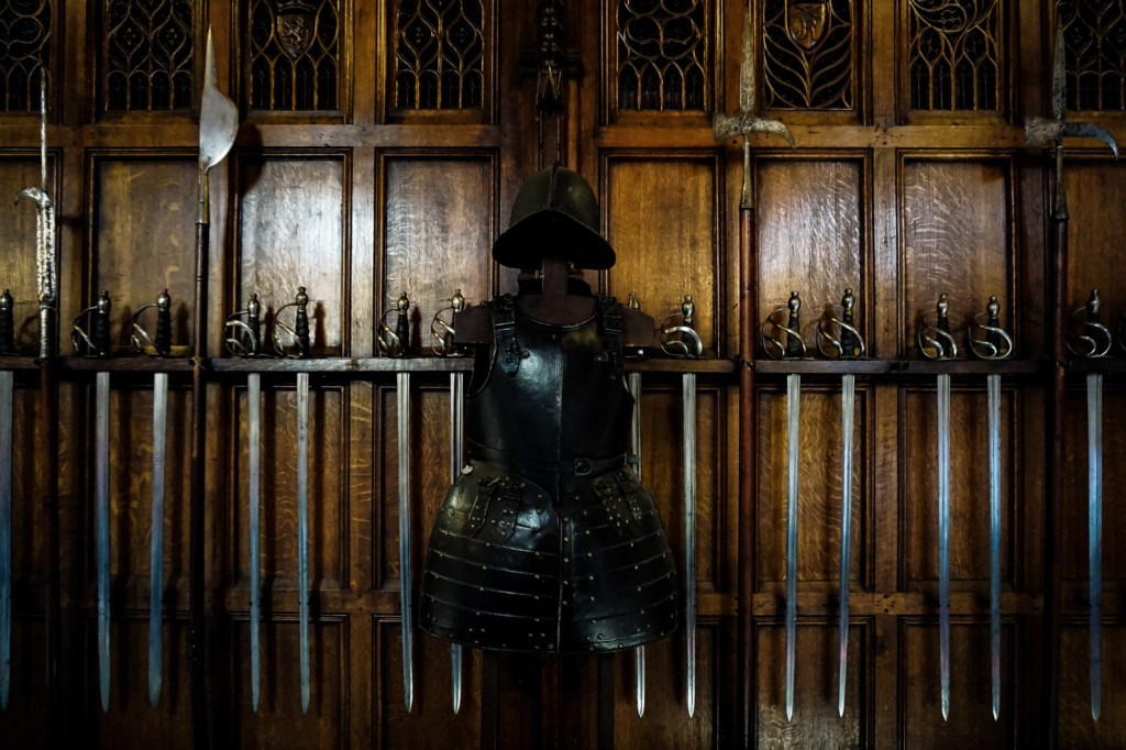 Armour and swords on display inside the Scottish Castle.