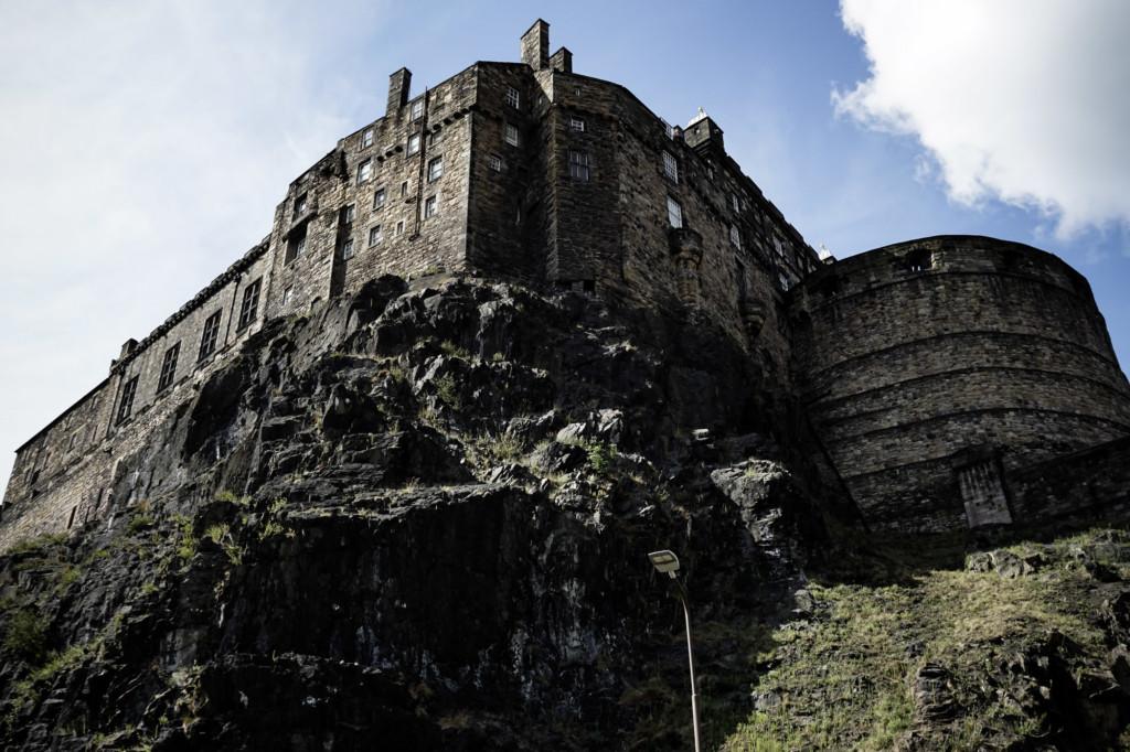 Castle Rock and Edinburgh Castle in Scotland.