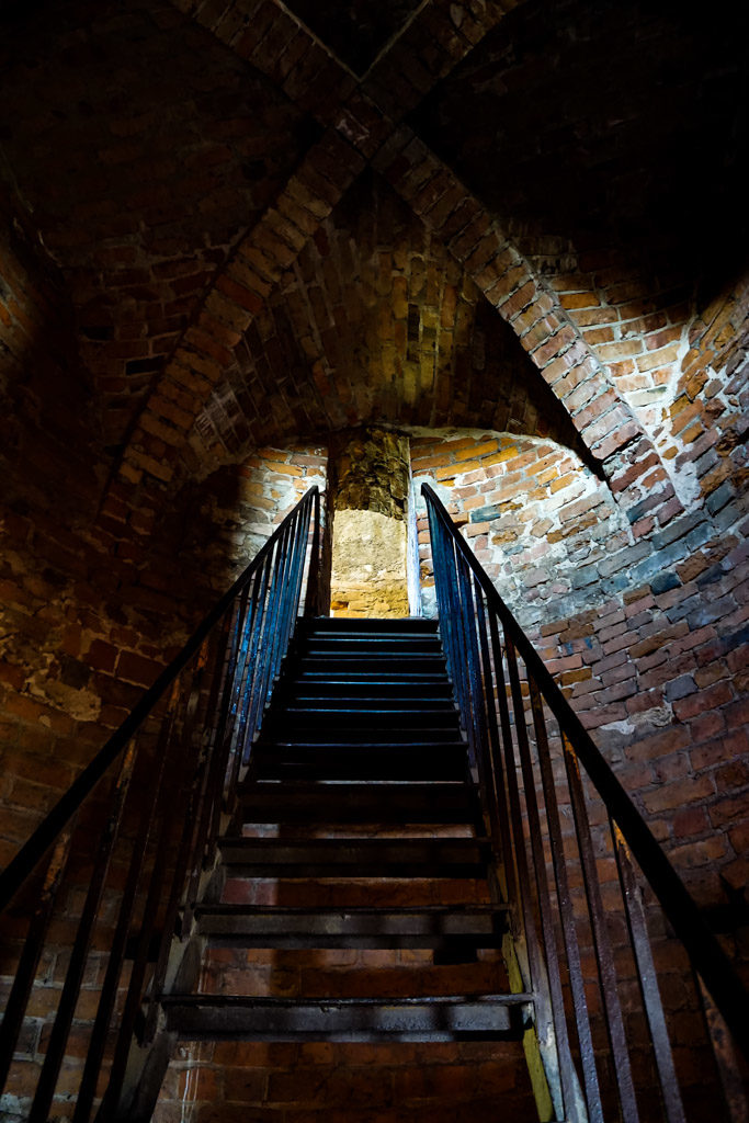 Haunted tower stairs in Poland's Lagow Castle.