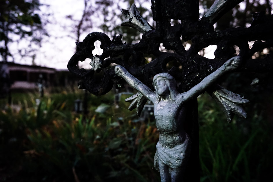 Crucifix in haunted Austrian cemetery.