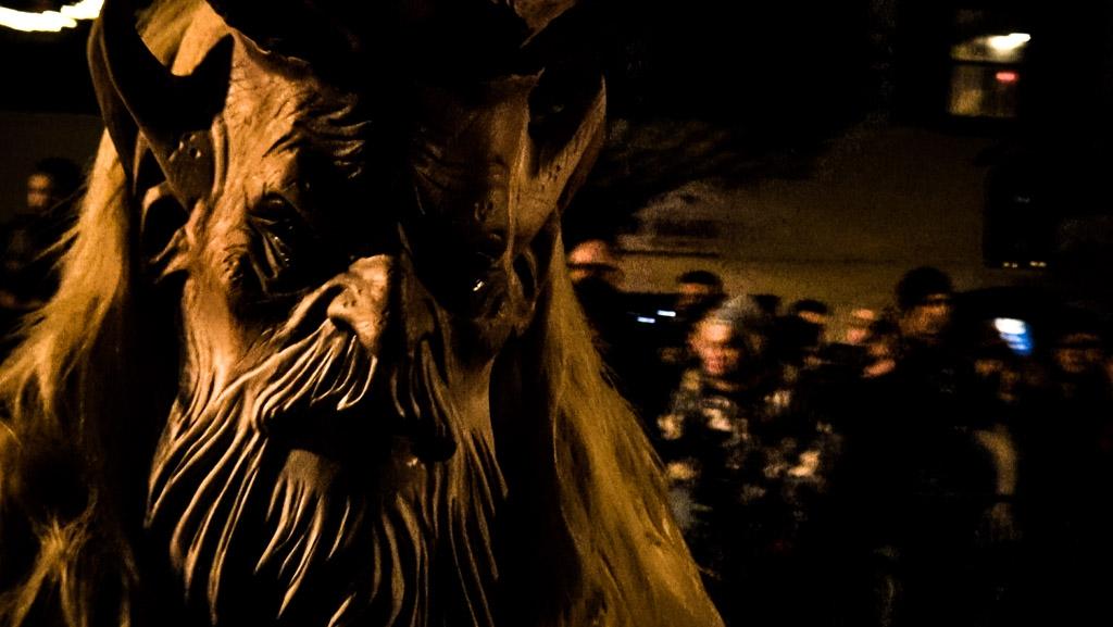 Krampus mask up close.