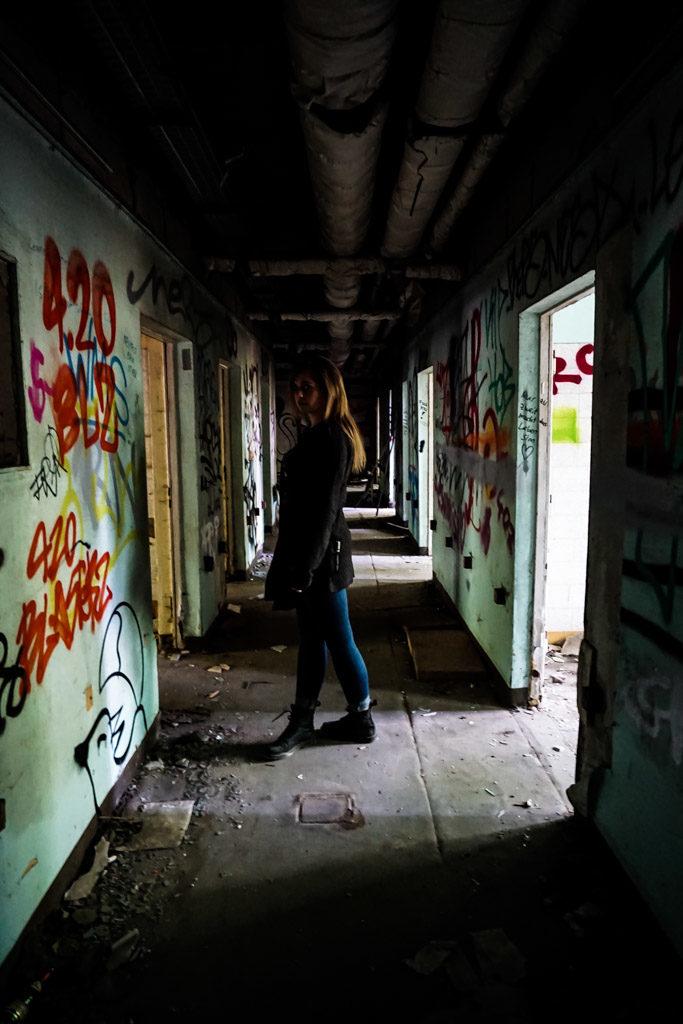 Graffiti covered hospital walls.