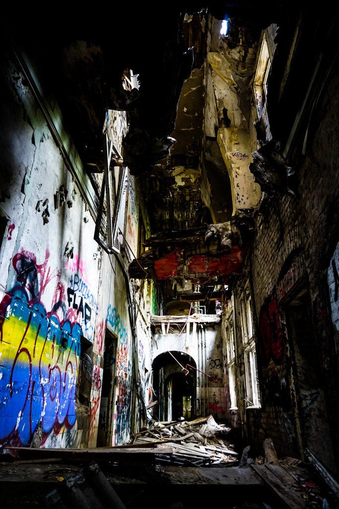 deteriorating abandoned building.