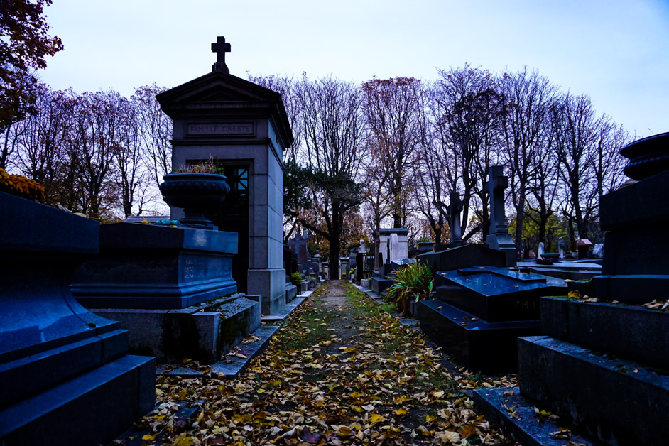 Graves of Pere Lachaise, haunted cemetery in Paris.