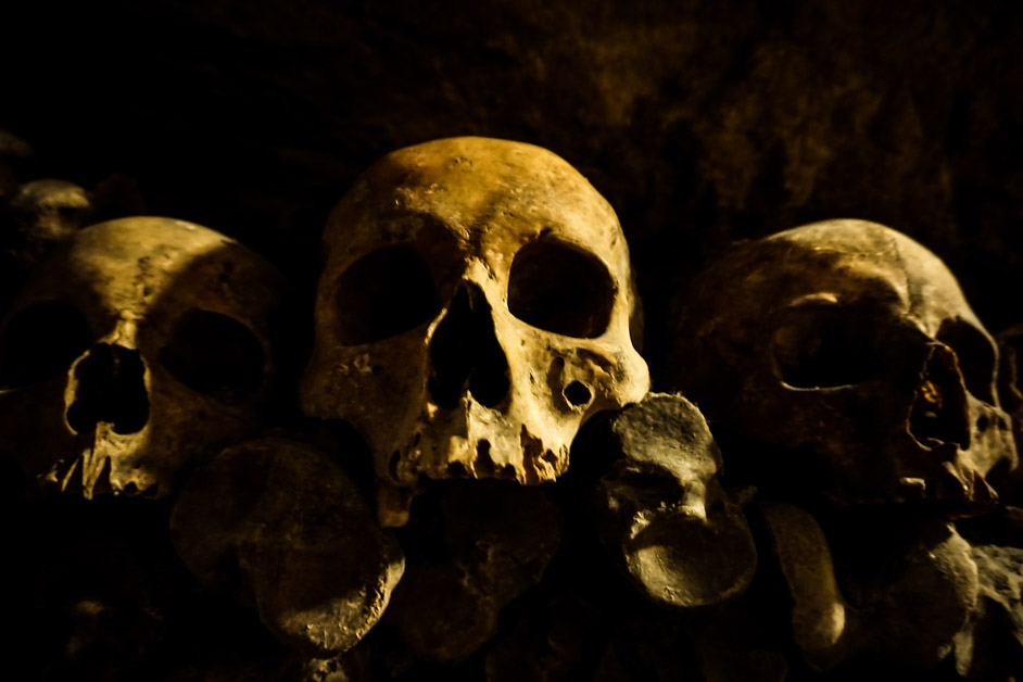 Skulls in Paris Catacombs.