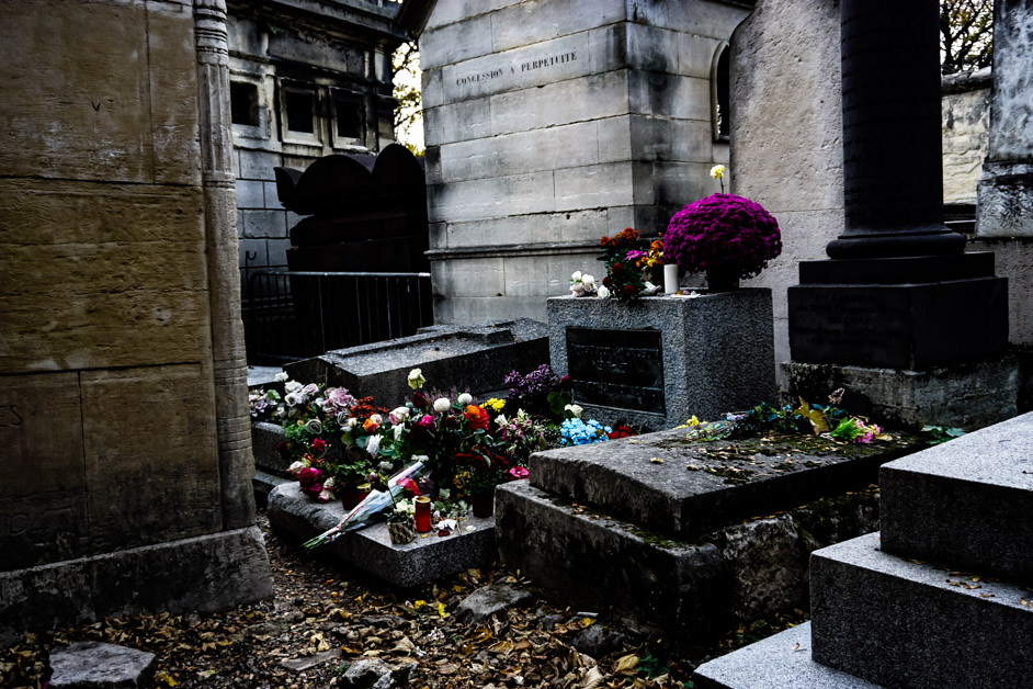Jim Morrison buried at Pere Lachaise in Paris.