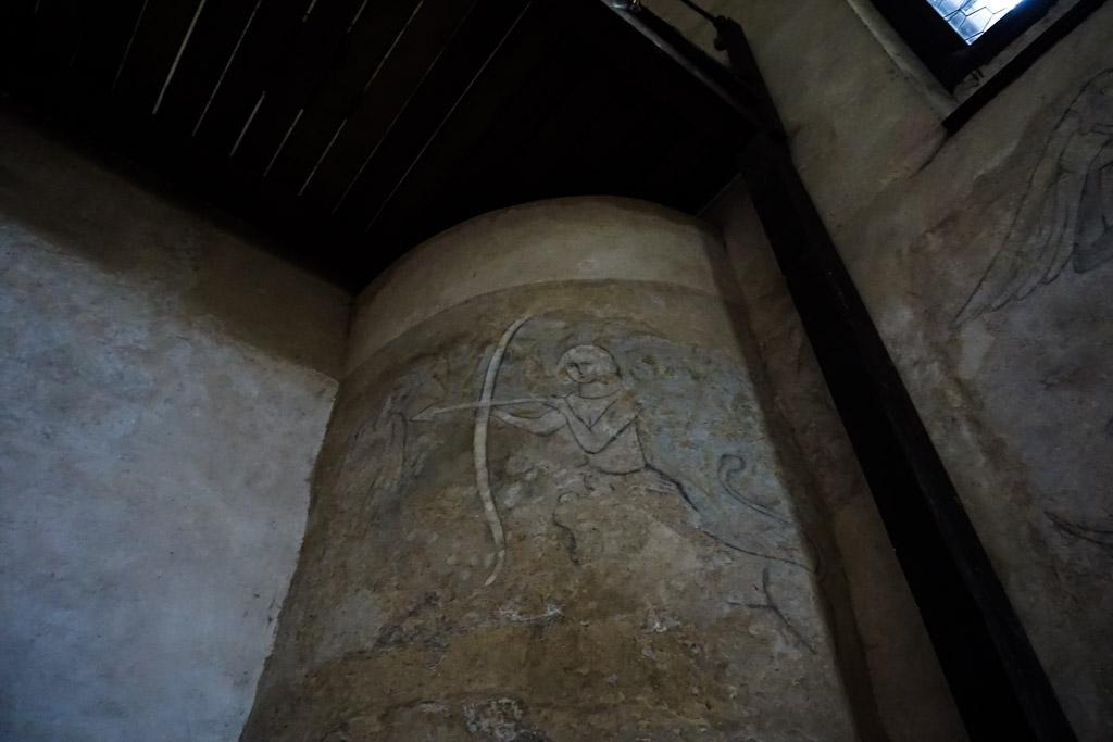 Fresco inside of Houska Castle's chapel.