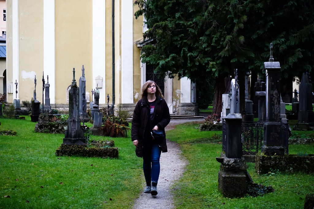 Strolling through the creepily decorated St Sebastian's Cemetery, Salzburg Austria.