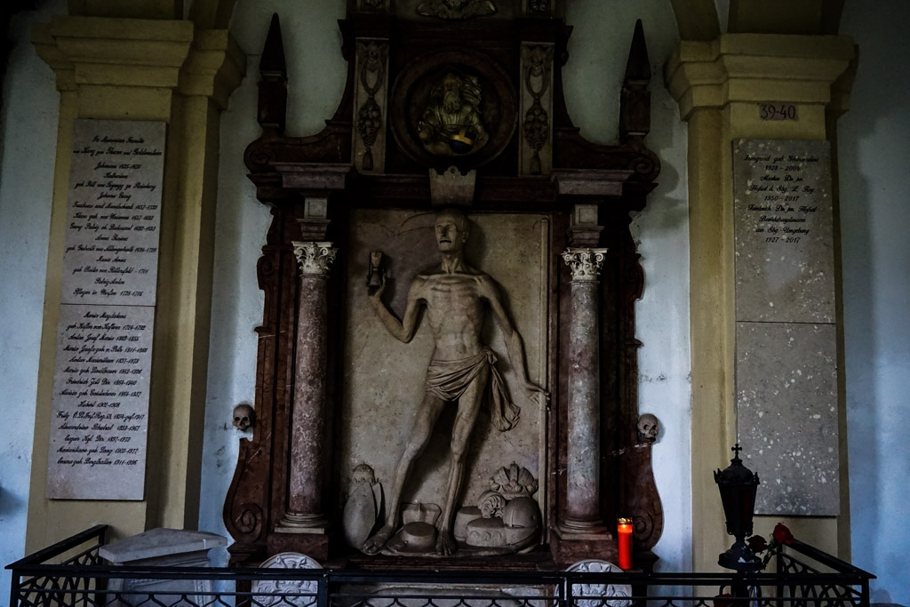 Representation of death at St Sebastian's Cemetery, Salzburg Austria.