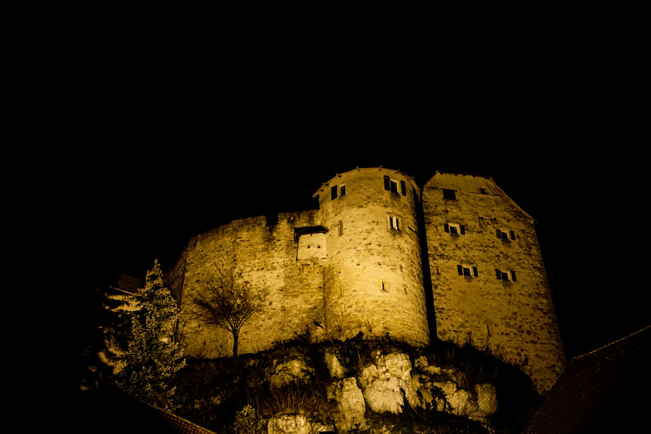 Night time at Castle Wolfsegg in Germany.