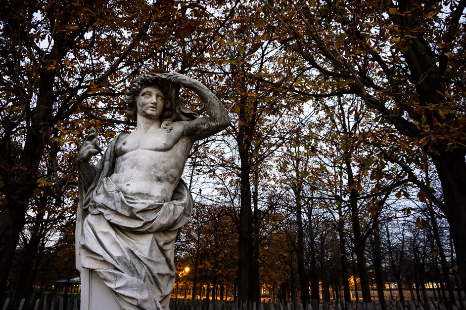 Statue in park of Paris.