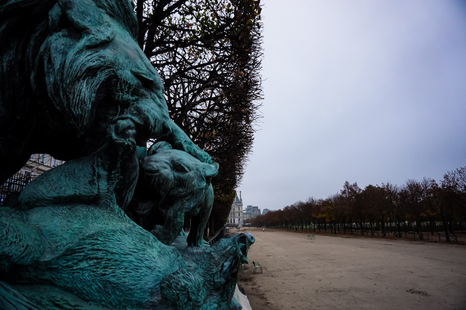 Lion statues in the Tuileries Garden, Paris.