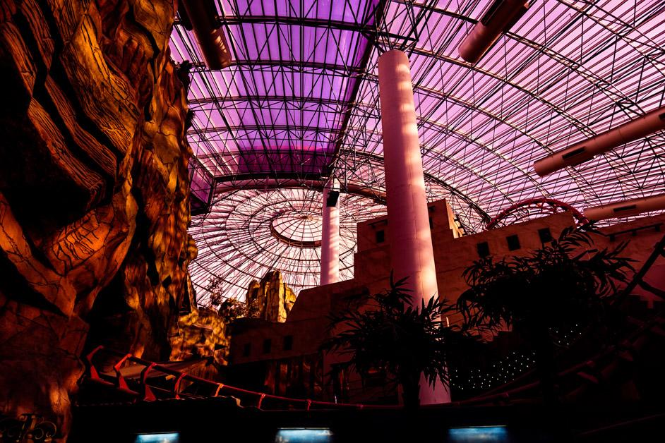 Roller coaster inside Circus Circus.