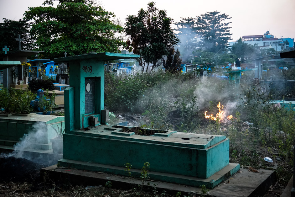 Fire in Vietnam cemetery.