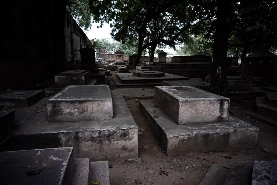 Graves in Delhi cemetery.