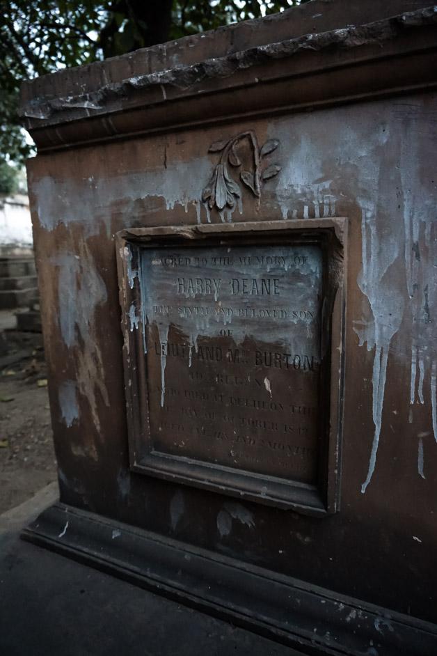 Tombstone in Lothian Cemetery of Delhi, India.