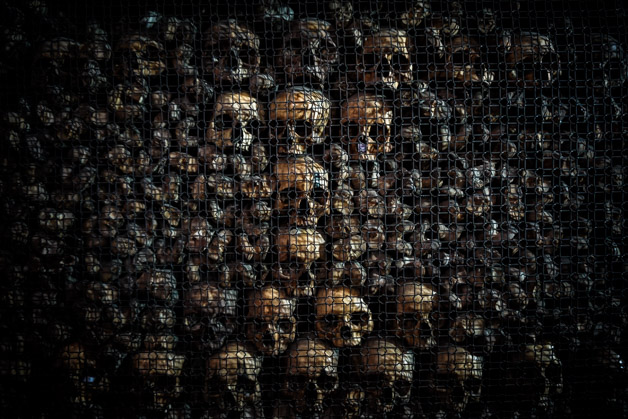 Creepy ossuary in Milan. Skulls.