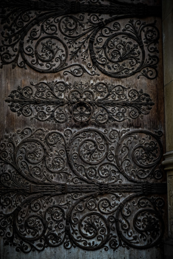 Iron work on Cathedral doors in Paris.