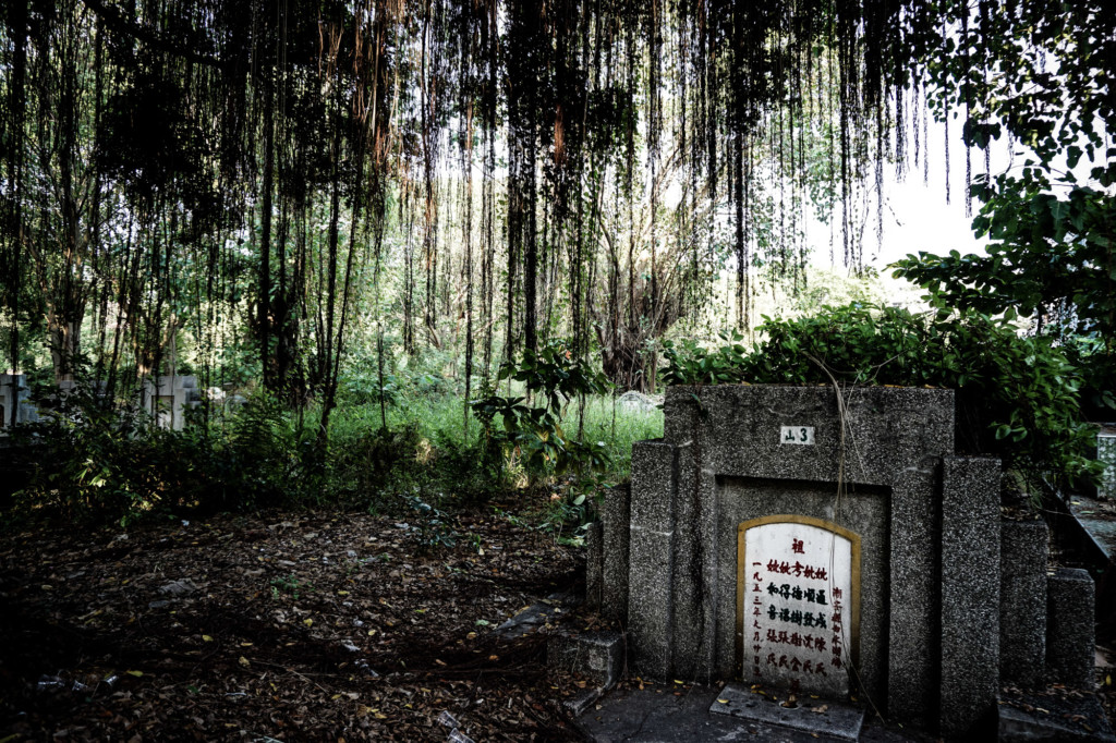 Grave in the haunted cemetery park of Thailand.