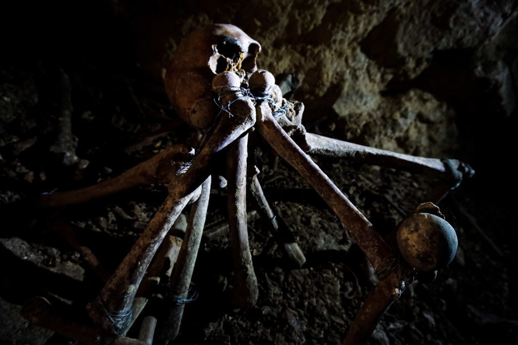 Strange bone creature in the illegal tunnels of the Paris Catacombs.