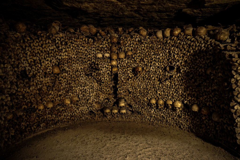 Bone display in ossuary of the Paris Catacombs.