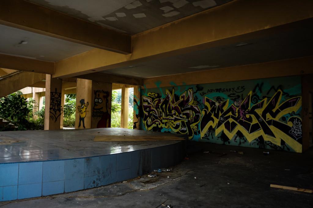 Grafitti inside of a former school.