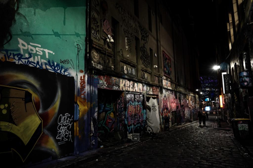 Haunted Hoiser Lane in Melbourne, Australia.