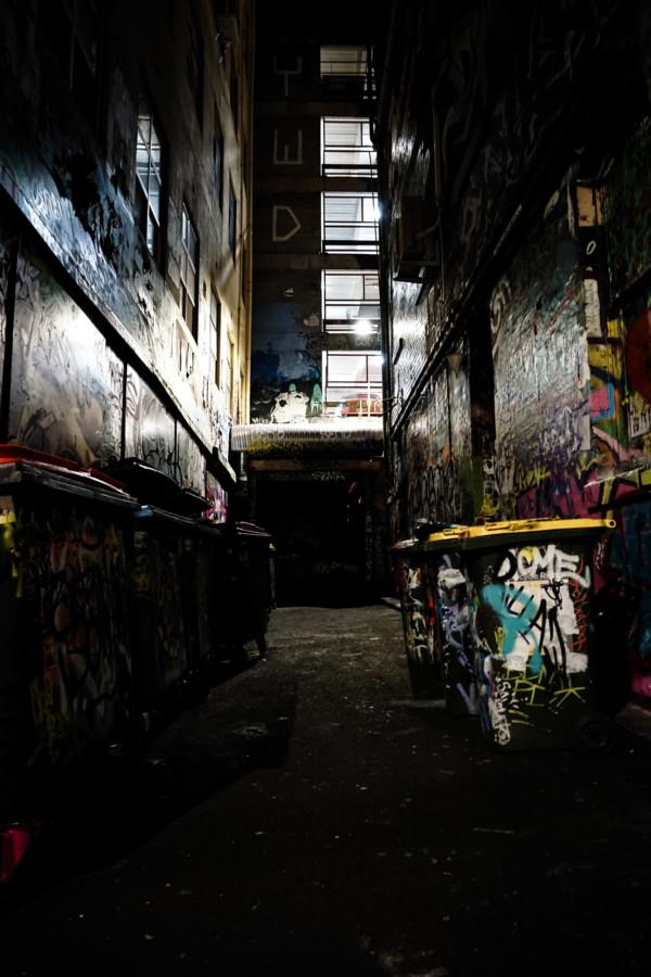 Dark haunted alleyway in Melbourne.