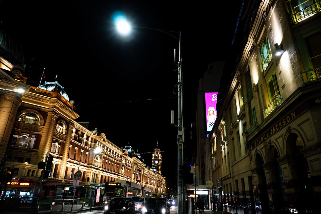 Flinders Street Station and the Jackson & Young pub in Melbourne, Australia.