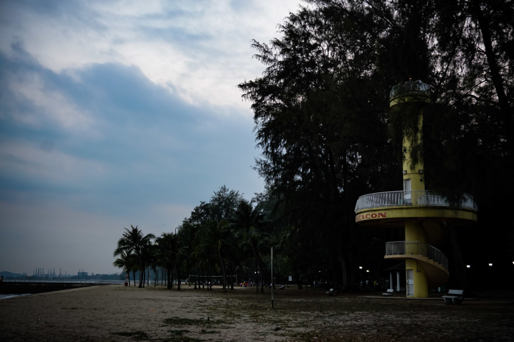 Amber Beacon Tower of East Coast Park in Malaysia.